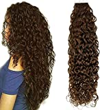 Hetto Invisible Seamless Pelo Humano Tape In Extensiones 20pcs 40g Ola Natural Pelo Natural Extensiones de Cabello 12inch Tape in Hair Extensions Remy Weft Real Skin 4 Marrón Oscuro