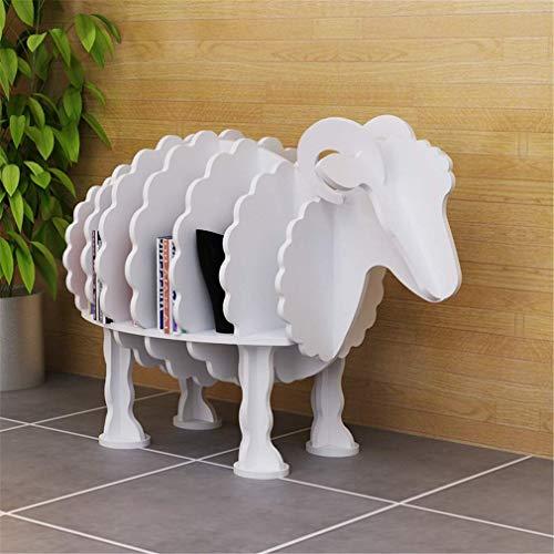 DIY Shelf Creative Cartoon modellering Sub-Grid Storage Shelf, PVC hout plastic plaat handwerk vloerstandaard ornament, wit, M Small wit