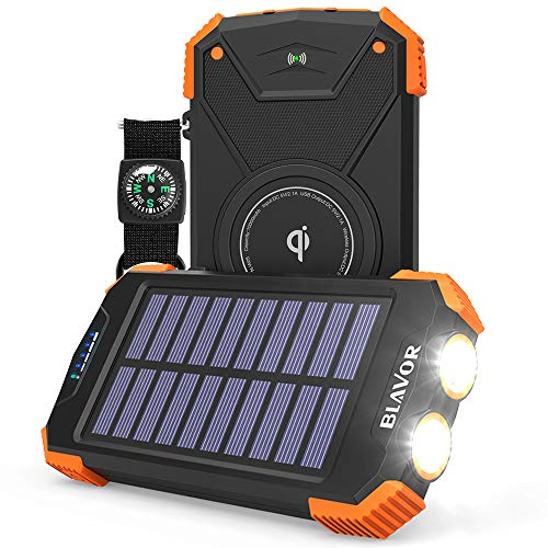 Solar Power Bank, Qi Portable Charger 10,000mAh External Battery Pack Type C Input...