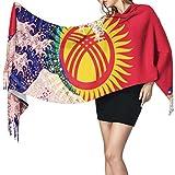 XCNGG Bufanda con flecos de cachemira de imitación chal bufanda larga de moda Cashmere Feel Shawl Wraps Kyrgyzstan Flag And Wave Off Kanagawa Fashion Large Scarf For Women Winter Warm Soft Scarves Bla