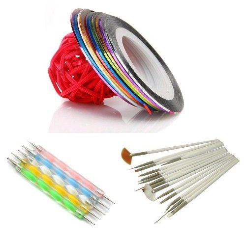 5 X 2way Dotting Pen Marbleizing Tool + 15pcs Nail Art Brush + Set Of 10 Nail Striping Tape Tool Kit Set