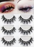 3D Mink Fake Eyelashes -100% Hand-made Siberian Mink Fur False Eyelashes Dramatic Thick Crisscross Deluxe False Lashes Nature Fluffy Long Soft 3 Pair Package