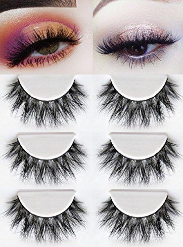 3D Mink Fake Eyelashes -100% Siberian Mink Fur Hand-made False Eyelashes Dramatic Thick Crisscross Deluxe False Lashes Nature Fluffy Long Soft 3 Pair Package
