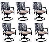 Bigroof Metal Swivel Patio Chairs Set of 6 Outdoor...