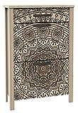 Miroytengo Zapatero 2 Puertas 1 cajón Decorado Mandala Color Roble Cepillado 66x28x99 cm