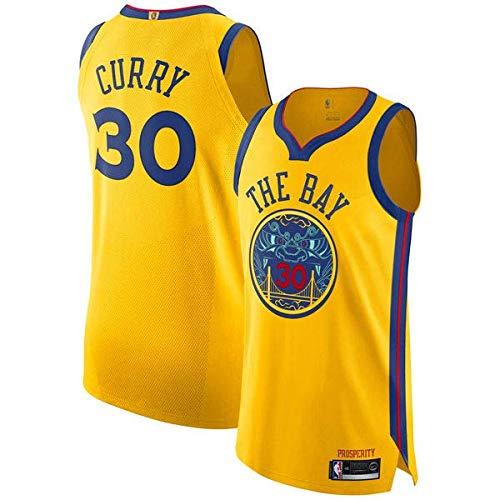 canottejerseyNBA Stephen Curry Golden State Warriors #30, Basket Jersey Maglia Canotta, Swingman Ricamata, Abbigliamento Sportivo (M, Giallo The bay City Edition '18)