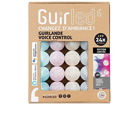LED Baumwollkugeln Lichterkette WIFI USB - Sprachsteuerung - Connected Home - Amazon Alexa & Google Assistant - 2xUSB-Netzadapter enthalten - 24 Kugeln 4m - Einhorn