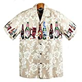 メンズアロハシャツ ハワイ製 ビールボトル柄/ソフトブラウン Winnie Fashion 大きいサイズ有 (US Mサイズ)