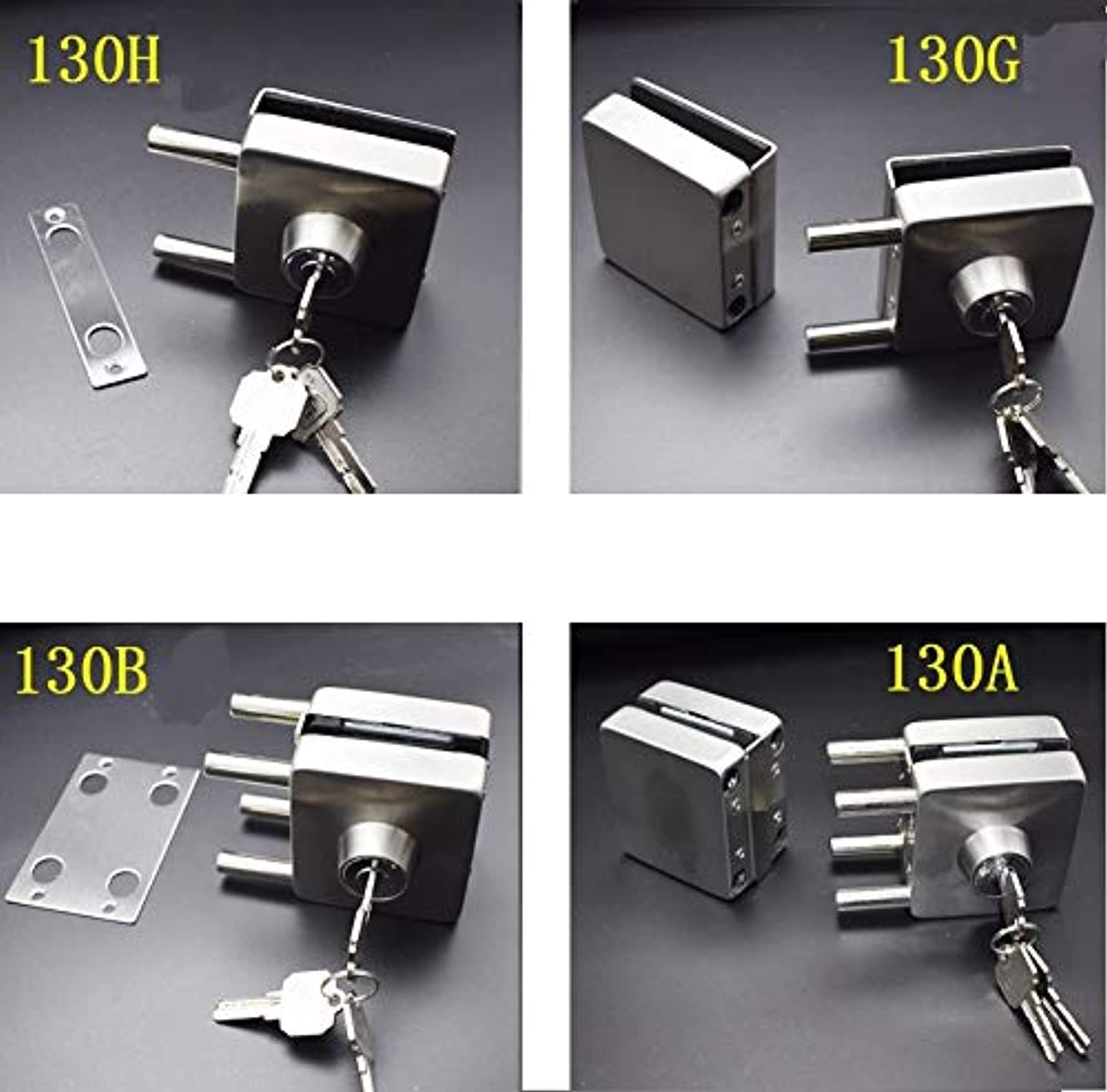 Stainless Steel Entry Gate 1012mm Glass Door Lock Locks W Key Swing Door Square Design 4 Kinds  (Size  130G)
