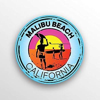 JMM Industries Malibu Beach California Vinyl Decal Sticker Car Window Bumper 2-Pack 3-Inch Round Premium Quality UV Protective Laminate PDS1499
