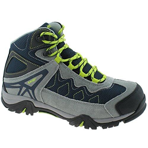 HI-TEC Boys Astro Hike WP Waterproof Majolica/Grey/Lemon Walking Hiking Boots-UK 6 (EU 39)