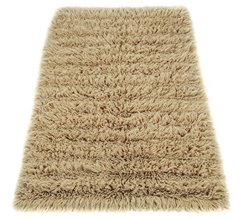 wohnen.com Flokati Teppich Farbe beige gestreift ca.1900gr/qm - Flokati bingt Natur pur durch 100% Neuseeland Schurwolle im Flor, Maß:240x340cm Rechteck