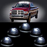 ECCPP 5 PCS Black Smoked Cab Roof Top Marker Running Lamps w/Xenon White LED Light Bulbs For 1994-1998 for Dodge for Ram 2500 3500