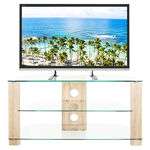 RFIVER Clear TV Unit Cabinet Stand 105cm Wide Corner Unit Entertainment with Tempered Glass Oak Legs Cable Management hold up to 40kgs TVs 3 Shelves TS3001