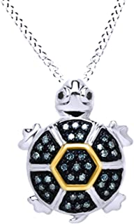 Black & Blue Natural Diamond Turtle Pendant Necklace in 14k Gold Over Sterling Silver (0.17 cttw)