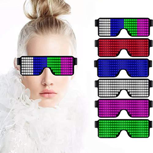 LED Brille USB Wiederaufladbare Ladebrille mit LED-Anzeige Cool Glasses 8 Pattern Optional Halloween Weihnachtsfeier Zubehör