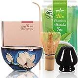Goodwei Set di Matcha Completo - Tazza Cerimoniale con frusta e cucchiaio di bambù - incl. Tè Matcha Biologico Giapponese (Magnolia)