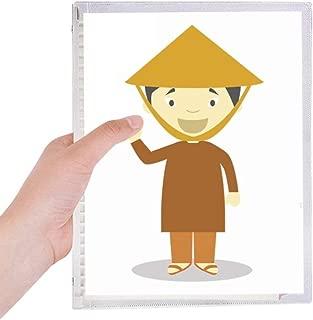 Bamboo Hat Vietnam Cartoon Notebook Loose-leaf Spiral Refillable Journal