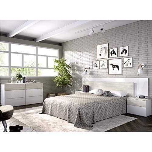 HABITMOBEL Pack Dormitorio; Cama 4 cajones con Cabecero + 2 mesitas + Cómoda 6 cajones