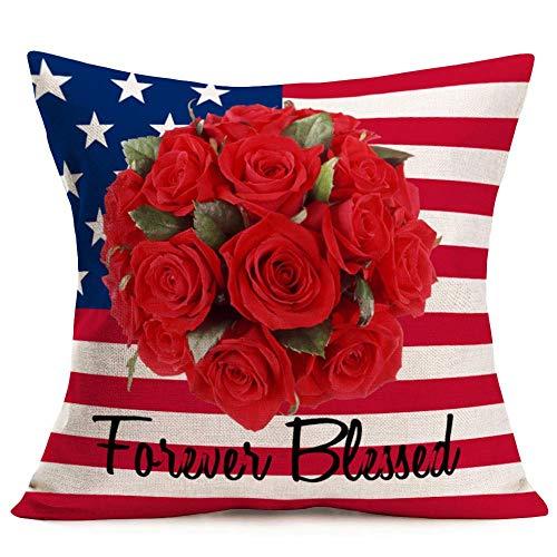 Hokdny Funda de cojín de lino y algodón con diseño de bandera americana, 45,7 x 45,7 cm, diseño de estrellas rojas, azul y rayas, con hojas de rosas