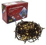 Idena 8325066 LED Lichterkette mit 200 LED in warm weiß, mit 8 Stunden Timer Funktion, für Partys, Weihnachten, Deko, Hochzeit, als Stimmungslicht, ca. 27,9 m