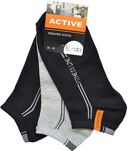 Esda - Herren Sneaker Socke ''Active'' schwarz-grau-schwarz 3er Pack 39/42