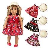 American Girls Muñecas Ropa - Conjunto de Vestido Floral + Sombrero para American Girl 18 Pulgadas - Muñecas Fashion y Accesorios Doll Ropa Set (Rojo)