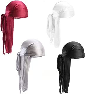 YanYoung 4 Pack Silk Durag Caps, Unisex Satin Durags Long Tail Wide Straps Headwraps for Men & Women Pirate Caps Head Wrap...