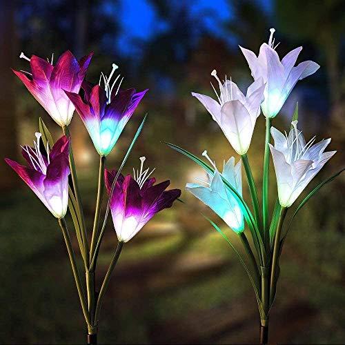Solarleuchte Garten 2 Stück, Vegena Solar Garten Lampen Lilie Blumen Solarlicht mit Farbwechsel LED Lampen, Außen Dekoration Lichter für Garten, Weg,Terrasse, Backyard