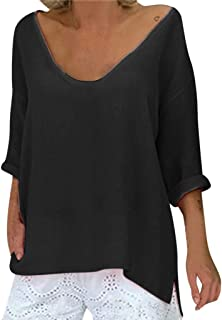 Fitfulvan Women's V-Neck Long-Sleeved Top Solid Color Loose Casual Blouse