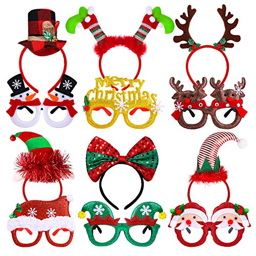 Elcoho 12 Pieces Christmas Party Glittered Glasses Frame and Christmas Holiday Headbands Reindeer and Santa Styles Accessories Gift for Christmas Party Favors