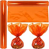 """Cellophane Wrap Roll Orange   100' Ft Long X 16"""" in. Wide   2.3 Mil Thick Transparent Orange  ..."""