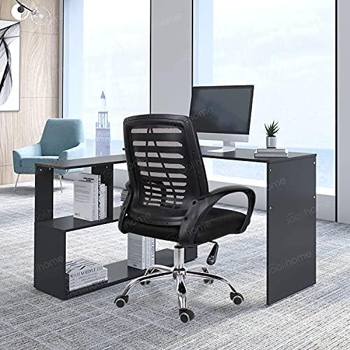 Joolihome - Escritorio para ordenador, en forma de L, madera, mesa de estudio, mesa de trabajo de escritura, estación de trabajo para casa, oficina, espacio pequeño (giratorio) (negro)