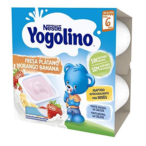 Nestlé Yogolino Fresa Plátano Sin Azúcar Añadido, A Partir De Los 6 Meses - Pack 6 tarrinas 4x100g