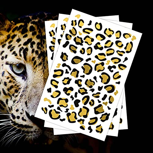 FashionTats Gold Leopard Print Temporary Tattoos (3-Piece) | Made in the USA | Skin Safe | Removable