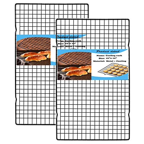 HILELIFE Cooling Rack Baking Rack, 2Pcs Cookie Rack Cooling, 16 x 10 in Metal Narrow Grid Cooling Racks for Cooking, Baking Racks for Oven