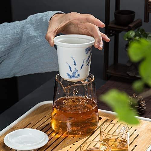 Jarra de vidrio con tetera de vidrio Tetera de vidrio de vidrio Juego de té grueso resistente al calor Revestimiento de filtro de cerámica Flor Tetera roja Taza exquisita Té de Kung Fu, Olla de pesca