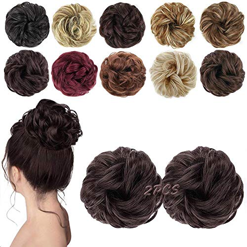 MORICA Messy Hair Bun Extensions 2PCS Curly Wavy Messy Synthetic Chignon Hairpiece Scrunchie Scrunchy Updo Hairpiece for women (6#(Dark Brown))