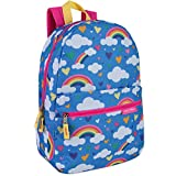 Girls' All Over Printed Backpack, 17 Inch Backpack for GIrls With Padded Straps (Rainbow Clouds)