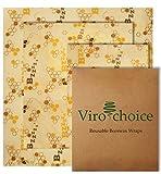Virochoice Beeswax Food Wrap - Reusable Fridge, Freezer Cotton Storage Container - Fruit, Produce, Bread, Sandwich, Veggie Wrapping Cloth - Zero Plastic Waste, Biodegradable Alternative - Set of 3