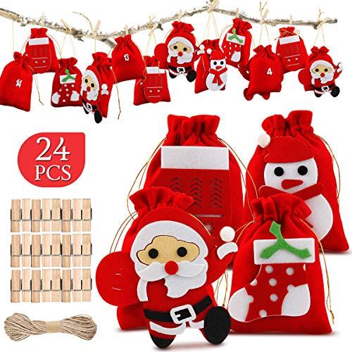 AODOOR 24 Adventskalender zum Befüllen, Weihnachten Geschenksäckchen, Adventskalender Tüten mit 1-24 Adventszahlen, Geschenkbeutel aus Filz