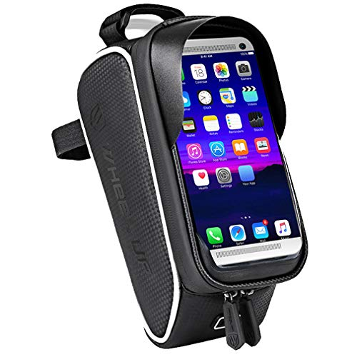 YUYAXBG fiets frametas fietstassen TPU touchscherm zonneklep ontwerp Bike Pouch Compatibel met 6.0 inch smartphone, Black