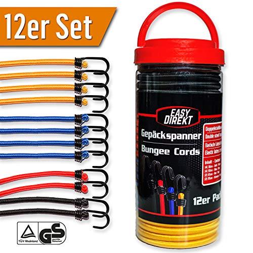 EasyDirekt 12er Set - Premium - Gepäckspanner Expander Spanngurte mit stabilen Doppel-Stahl-Haken, in div. Längen + Farben, inkl. Aufbewahrungsbox