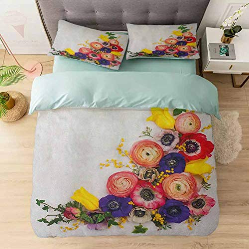 Aishare Store 100% Washed Microfiber 3pcs Bedding Set, Festive Floral Composition with English Roses Fresh Buttercups and Herbs, Soft and Breathable with Zipper Closure & Corner Ties, Multicolor