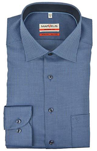 Marvelis Modern Fit Hemd New Kent Kragen mit Besatz bügelfrei Uni Struktur Reine Baumwolle, Größe:43, Farbe:blau