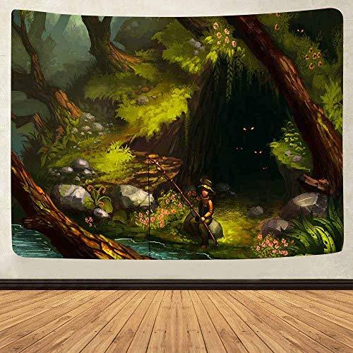 WAXB Tapiz De Montaña Psicodélico Castillo En El Bosque Wonderland Art Tapices para Colgar En La Pared para La Decoración De La Habitación del Hogar