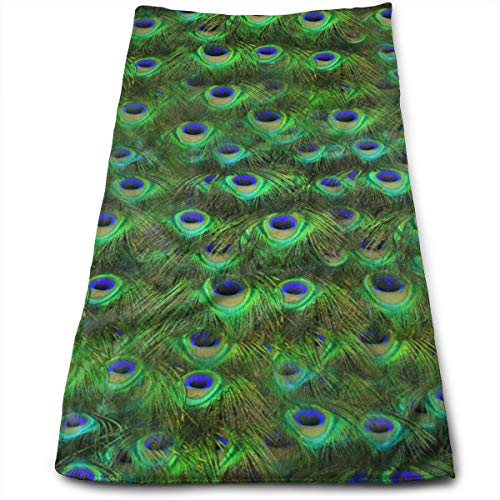 Green and Blue Peacock Feather Decorative Hand Towel for Bathroom 27.56 X 11.81 in Beautiful Peacock Soft Bath Towels