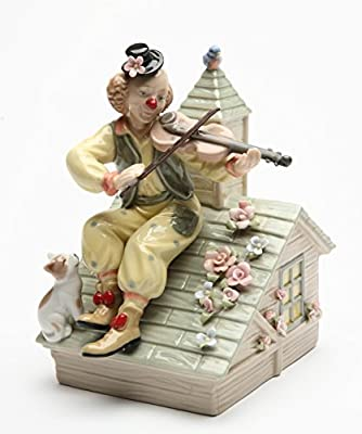 Cosmos Gifts 20867 Porcelain Fiddling Clown Musical Figurine