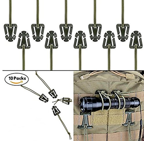 ZENDY Clip, para hidración al Aire Libre Tube Backpack Straps Management con Elastic String, práctica Mochila Accessories para Outdoor, Hiking, Camping, Climbing by (10Pc) Ejercito Verde