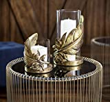 "Deco 79 55349 Large Metallic Gold Feather Candle Holder with Hurricane Glass, 6"" x 10"""